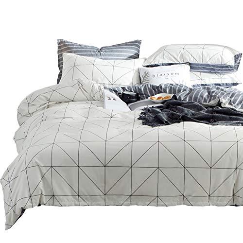Luofanfei Baumwolle Bettwäsche King Size 220 x 240 cm 3 Teilig Kariert Bettbezug Streifen Geometrisch Schwartz und Weiß -