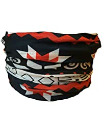 Multifunction Neckwarmer, Snood, Hat, Scarf and Hood in Navy & Black with Nordic print by Monogram