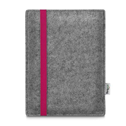 stilbag e-Reader Tasche Leon für Tolino Epos | Wollfilz hellgrau - Gummiband pink | Schutzhülle Made in Germany