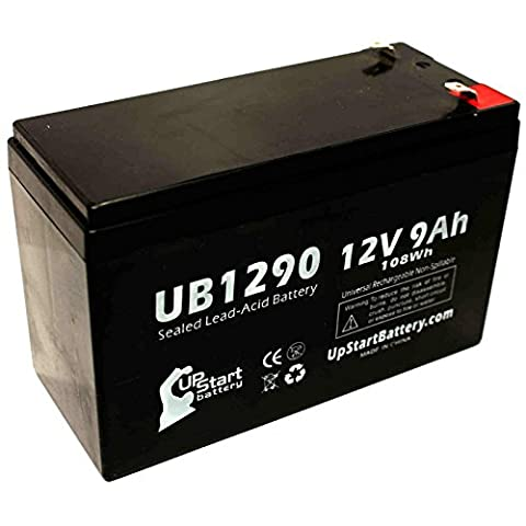 Replacement APC RBC12 Battery - Replacement UB1290 Universal Sealed Lead Acid Battery (12V, 9Ah, 9000mAh, F1 Terminal, AGM, SLA) - Includes TWO F1 to F2 Terminal Adapters