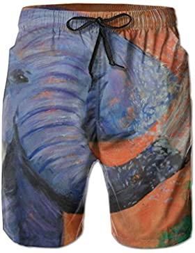 Animal Blue Elephant Watering Painting Men's/Boys Casual Quick-Drying Bath Suits Elastic Waist Beach Pants with...