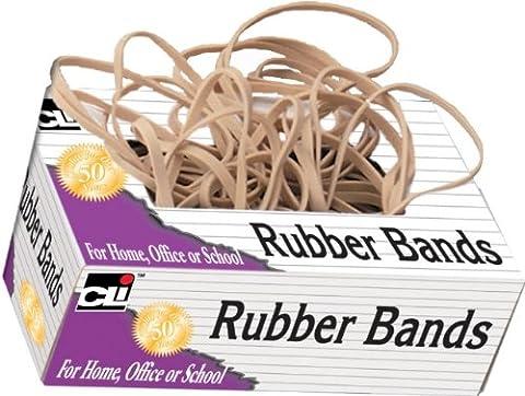 Charles Leonard Gummi Bands, tissue-style Box, # 8, beige/natur, 56108