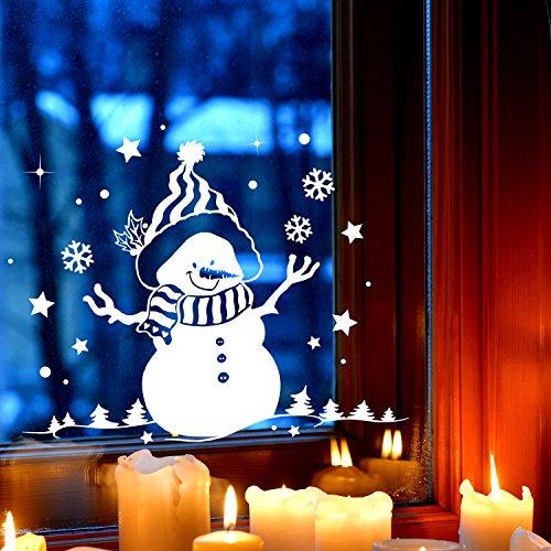 Fensterbild Schneemann & Bäume Fensterbilder Fensterdeko Winterlandschaft 27x21cm + Sterne & Schneeflocken selbstklebend für Kinder M2257 ilka parey wandtattoo-welt®