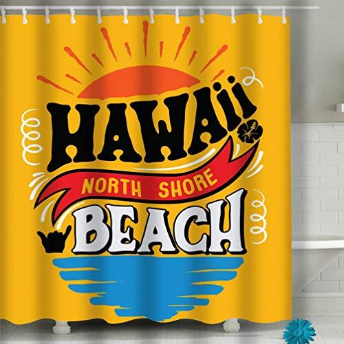 Xunulyn Beach Shower Curtain Illustration Hawaii North Shore Beach Vintage Typography Poster Print Banner Fabric Bathroom Decor 60 X 72 Inch