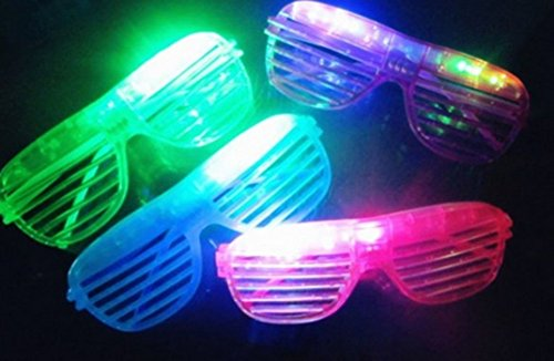 12-Piece-High-Quality-Slotted-Shutter-Shades-Light-Up-Unisex-Flashing-Glasses-For-Adults-Children-5-Assorted-Colors-White-Purple-Green-Blue-Pink-With-Push-OnOff-Button-for-All-Occasions