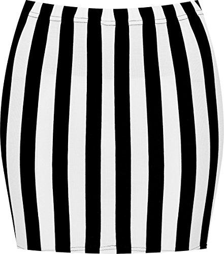 WearAll - Damen Bedruckt Dehnbar Jersey Figurbetontes Kurz Mini-Rock - Schwarzer Weißer Streifen - 36-38 (Stretch-rock Streifen)