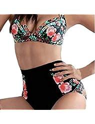 Yaohxu Trajes De Baño para Mujer,Mujeres imprimiendo sin Respaldo Fibra de poliéster Frenum Bikini Beach,Negro,XL