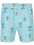 Tokyo Laundry Herren Blume mehrfarbig bedruckt Badehose - Mazo - Türkis Flamingo - blau, L