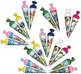 Unbekannt 20 TLG. Set _ Schultüten - 15 cm - rund - Geschenktüten - klein / Anhängetüte zum Aufhängen - Dekoration z.B: für Zuckertüte Deko / Tischdeko für Schulanfang ..