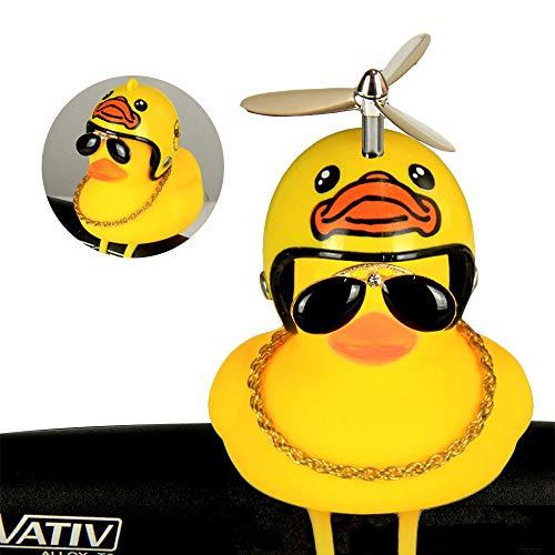 Zounghy Kleine gelbe Ente Fahrrad-Licht Ente Bell, Motorrad-Helm, Schutzhelm Horn Licht, Sonnenbrille Ente - Turbo-Ente. - Fahrrad-kette Bell