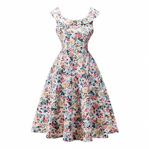 IMUYI Women Classy Vintage Audrey Hepburn Style 1940's sans manches Rockabilly Robe de soirée 5Floral