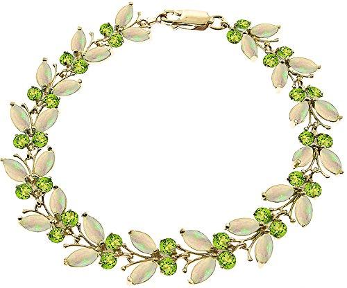 QP joailliers naturel Peridot & Opale Bracelet en or 9carats, 12ct Coupe Marquise-2628y