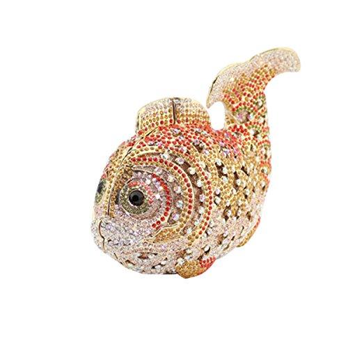 Mini Fischförmigen Doppelseitige Diamanthandtasche / Art Und Weise Abendbeutel / Handtasche Gold