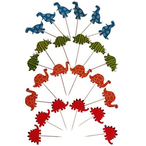 F FITYLE 24tlg. Cocktail Kuchenstecker Dekoration Set für Geburtstag, Babyparty, Taufe und andere Anlässe - Dinosaurier Schildkröte