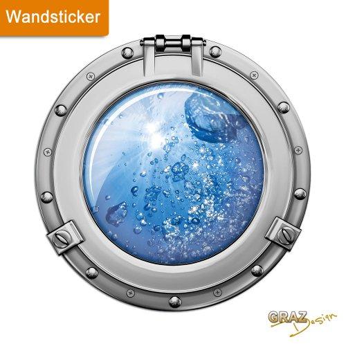 GRAZDesign Wandtattoo für Badezimmer WC Bullauge Wasser Blasen