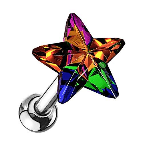 Piersando Tragus Helix Ohr Piercing Cartilage Knorpel Stab Stecker 316 L Chirurgenstahl mit Stern Kristall Silber Rainbow