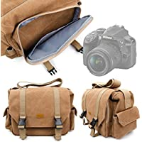 Tan-Brown Large Sized Canvas Carry Bag for Nikon D3400 SLR Camera - by DURAGADGET