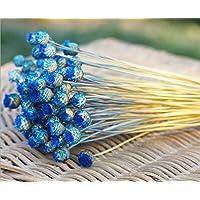 Danapp - 50 flores artificiales de flores secas inmortales, azul real, 1