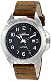 Timex Men's T499459J Expedition Rugged Silver-Tone Watch with Olive Green Leather Band