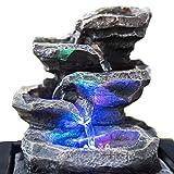 Zimmerbrunnen Innenbrunnen Feng Shui Little Rock LED Farb Beleuchtung 23 cm
