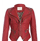 Rockige dunkelrote PU Kunstleder Moto Jacke mit Nieten Spikes (XL, Rot)