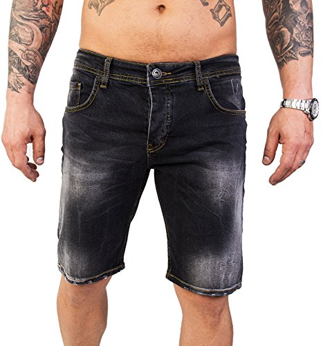 Rock Creek Herren Shorts Jeansshorts Denim Stretch Sommer Shorts Regular Slim [RC-2124 - Anthrazit W34] (Print-stretch-shorts)