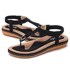 9f8de7adbb18 Gracosy Women Summer Flat Sandals Bohemian Flip Flops Thongs Comfortable  Elastic Clip Toe Flat Beach Sandals Low Wedge Heel Shoes Slingback Slip on  Casual ...