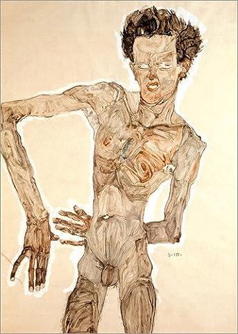 Impression sur bois 70 x 100 cm: Self portrait in a jerkin with right elbow raised de Egon Schiele / akg-images