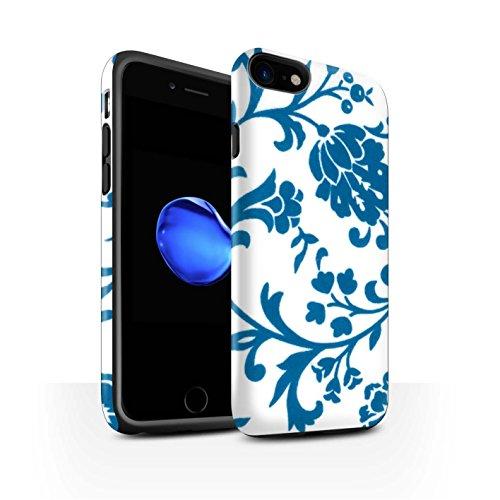 STUFF4 Matte Harten Stoßfest Hülle / Case für Apple iPhone 8 / Grüne Blume Muster / Blumenmuster Kollektion Blaue Blume