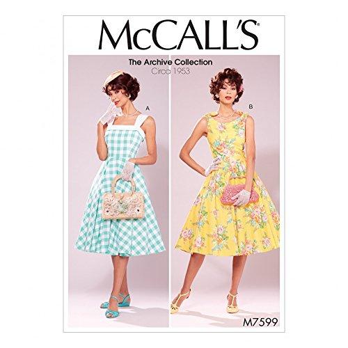 McCalls Patron de femmes Patron de couture 7599Style vintage doublé évasé robes avec Jupon