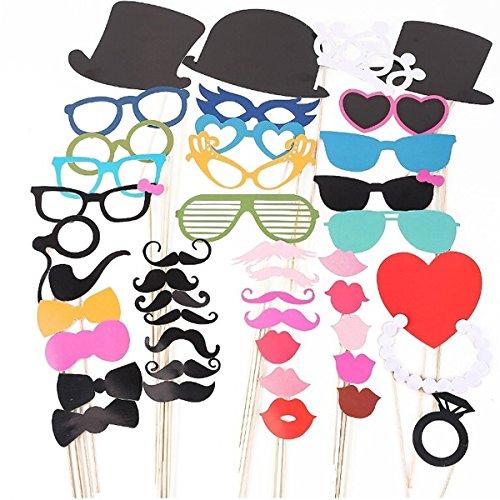 Foxnovo 44-in-1 DIY Brille Schnurrbart roten Lippen Fliege Hüte auf Sticks Hochzeit Geburtstag Party Foto Booth Props