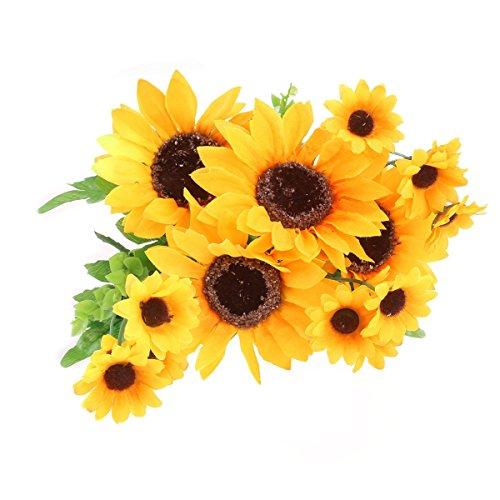 VORCOOL Künstliche Seide Sonnenblume Kopf Simulation Blume Schöne Hochzeit Home Party Decor Haar Dekorative (Gelb)