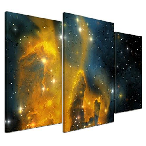 Kunstdruck - Nebula Galaxie - Bild auf Leinwand - 100x60 cm 3 teilig - Leinwandbilder - Bilder als Leinwanddruck - Wandbild von Bilderdepot24