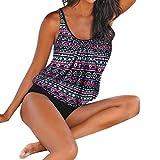 Luckycat Bademode Damen Große Größen Bikini-Sets Tankini Oversize Blume Push up Schwimmanzug Mode 2018