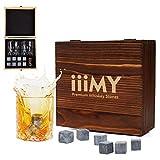 Iiimy, Whiskey-Steine und -Gläser-Geschenk-Set mit handgefertigter Holzkiste, kühle Drinks ohne zu verdünnen, Whiskey-Set mit 2 Gläsern, das ideale Geschenk für Männer, Papa oder Ehemann