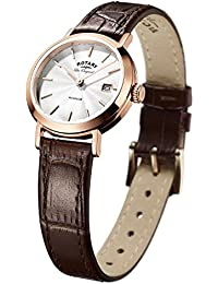 Rotary Women's Quartz Watch with White Dial Analogue Display and Brown Leather Strap LS90157/02