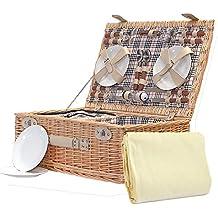 Cesta de picnic Grosvenor, para 4 personas, con accesorios y manta de vellón de