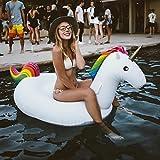 Aaufblasbares Einhorn Luftmatratze Schwimmtier Pool Floß Spielzeug Mit Schnellen Ventilen PVC Aufblasbarer Schwebebett (200x100x90cm)