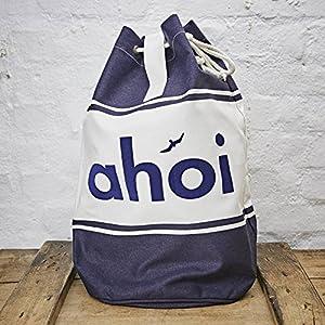 Seesack/Umhängetasche/Schultertasche Design Ahoi - bedruckter Beutel - Baumwolle blau weiss 30 Liter