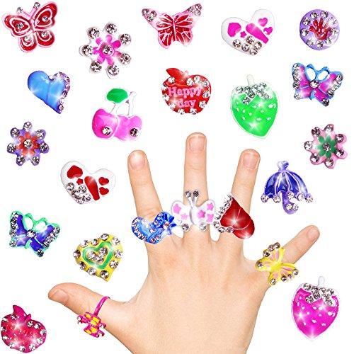 German Trendseller® - 24 x Kinder Ringe - Glitzer Edelsteine Prinzessin - Mädchen ┃ Mitgebsel ┃ Kindergeburtstag ┃ Glänzend Bunt mit Schmuck Steinen ┃ 24 Stück (Rose Gold-diamant-opal-ring)