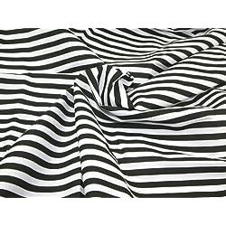 Quality-Fabrics - Tela de polialgodón con Estampado de Rayas Blancas y Negras, 45 Unidades, por Metro