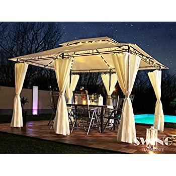 luxus pavillon 3x4m garten pavilon gartenm bel pavillion partyzelt gartenzelt braun. Black Bedroom Furniture Sets. Home Design Ideas