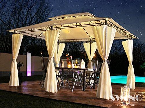 Swing & Harmonie Luxus LED - Pavillon 3x4m Minzo - inkl. Seitenwände mit LED Beleuchtung + Solarmodul Gartenpavillon Partyzelt Gartenzelt (ohne Moskitonetz, rot)