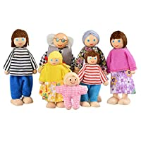 Arshiner Kids Baby Wooden Doll House People Doll Toys for Girls Happy Doll Family of 7 People House Set