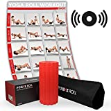 POWRX-Roll inkl. Tragetasche und Workout I Faszienrolle mit Tiefenvibration I Massagerolle I Vibrationsrolle mit 4 Vibrationsstufen (Rot)