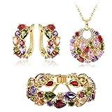 MESE London Vogue Collar con Pulsera y Aretes Conjunto Cristals Chapado en Oro 18ct 'The Heavenheart' en Caja de Regalo Elegante