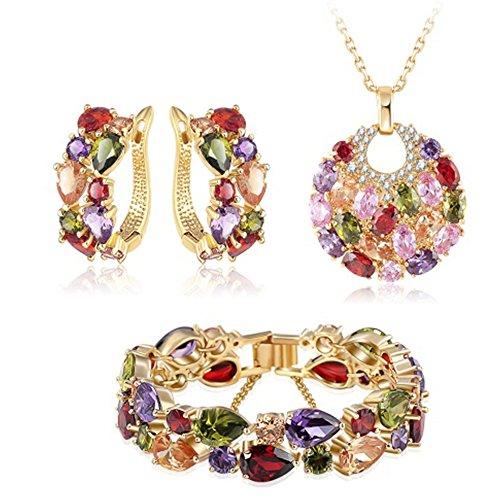 MESE London Zirconi Cubici Designer Set Collana Con Braccialetto E orecchini Ciondolo Con Strass In Vogue Placcato Oro 18K - Elegante Confezione Regalo