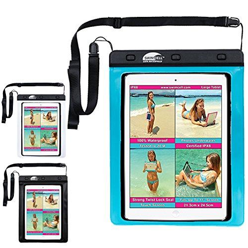 SwimCell Wasserdichte Handyschutzhülle für iPhone 6, 7 Plus, iPad, Tablet, Samsung Tab, Kindle, MP3-Player, Kamera, Schlüssel, Geldbeutel, Reisepass - hochwertig - IPX8-getestet - zum Schwimmen bis 10m Wassertiefe, blau, Large Tablet 21.3cm x 25cm