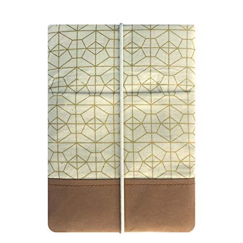Kuratist eBook Reader Hülle 6 Zoll- Handgemacht aus 100prozent Baumwolle & Kantenschutz aus Papier (100prozent Vegan) (z.B. Tolino Shine 2/3 HD/Vision 2/3/4 HD, Geo Grid)