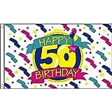 Geburtstagsbanner, 150x 90cm, Happy 50th Birthday, 100 % Polyester, Flagge, Banner, ideal für Kneipen, Clubs, Schule, Festival, Büro, Party-Dekoration